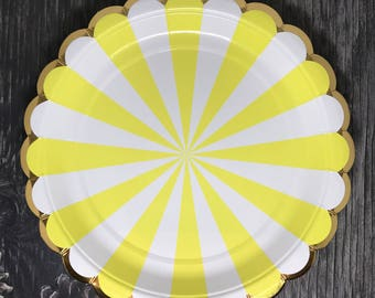 Yellow Pinwheel Paper Plates   Yellow Striped Paper Plates   Pack of 8 Meri Meri inspired small party plates