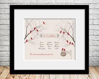 Unique Grandparent Gift, Grandparents Family Tree, Our Grandchildren, Lovebird Grandparent Family Tree, Christmas Gift, Anniversary