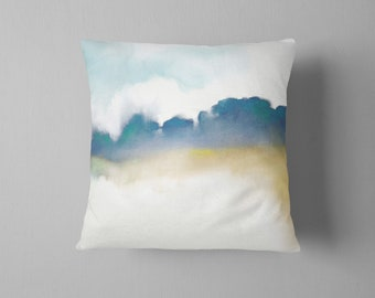 Abstract Throw Pillow, Pastel, Indigo, Watercolor Pillow, Navy, Mustard, Teal, Landscape, Gift for Him, Pillow Cover, Cushion, Nature, Trees