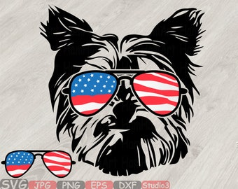 Yorkshire Terrier USA Flag Glasses US Silhouette SVG Cutting Files ClipArt Studio3 cricut cuttable cut layer Head Dog 4th July 838S