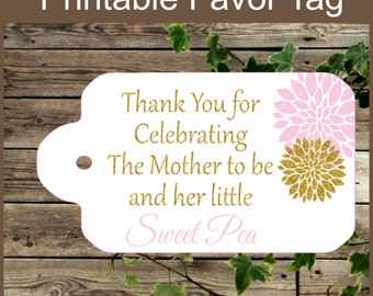 Pink and Gold Baby Shower Printable Favor Tag, Sweet Pea, Baby Shower Favor Tag, Instant Download, Girl Baby Shower Tag