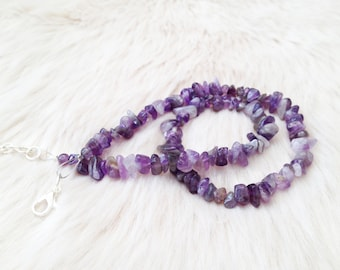 Amethyst gemstone beaded necklace. February birthday necklace.  Chip beads necklace. Amethyst jewellery.