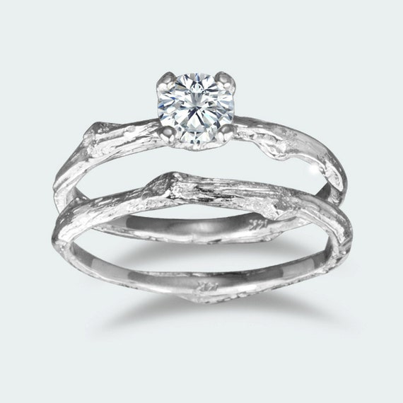 34 Grams Unique Diamond Set: Prong Setting Round Moissanite Twig Engagement Ring / 14k