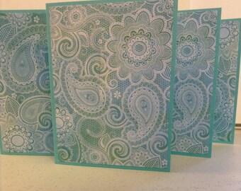 Blue Paisley Cards, Paisley Stationery, Paisley Notes, Blue Paisley Note Cards, Set of 6 Cards and Envelopes
