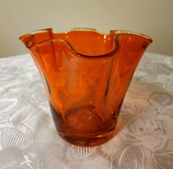 Viking Handblown Epic Amberina Glass Ruffled Vase