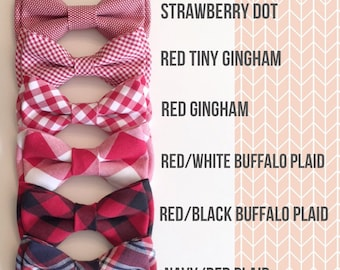 red gingham bowties - red plaid bow tie Daddy and son bowtie - Valentines day bowtie - red bowties -dog bow tie- buffalo plaid bow tie