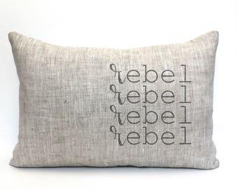 """rebel pillow, word pillow, housewarming, throw pillow, new home gift - """"rebel"""""""
