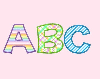 Applique Font large.  Upper, Lower, Numbers and Symbols comes in 3 sizes in 10 formats