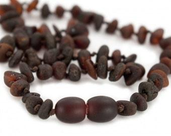 Dark Chocolate Children Amber Beads Teething Necklace