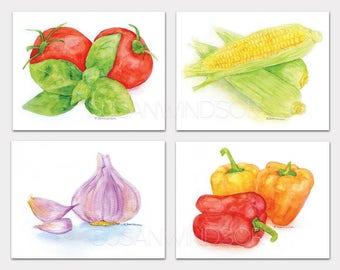 Garden Veggies Art Prints Set of 4 Corn Garlic Peppers Tomatoes Wall Art HORIZONTAL Orientation
