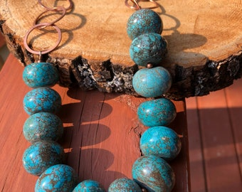 Blue Turquoise Howlite Necklace with Copper Chain