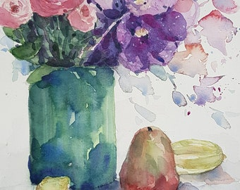 Vase of Flowers and Rose Apple II : Original Watercolour Painting