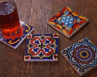 Stone coasters - Mexican tile design