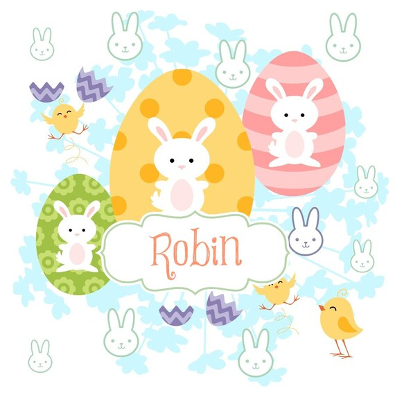 Easter Eggs & Bunnies Personalized - Organic Cotton Blanket -Baby/Toddler/ Tween/ Teen  Blankets, Personalized Gift, Easter Gift