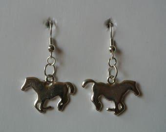 Silver Horse Earrings with Silver Fishhook