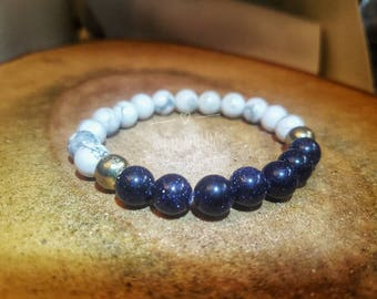 Blue Goldstone and Howlite Crystal Gemstone Bracelet