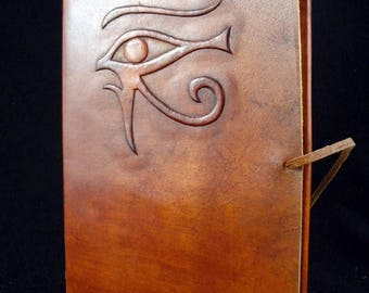 EYE of HORUS A5 Handmade Leather Journal Diary - Pagan Wicca Book of Shadows