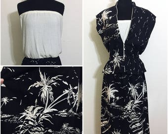 Original Vintage 70's Hawaiian Dress with Bolero, Vintage Hawaiian Dress and Jacket, Vintage 70's Hawaiian Novelty Print Dress, Size: