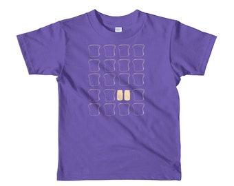 Peanut and jelly, bread, toast sandwich lunchbag, favorite food, snack, kids, love pb&j, foodie fan, Short sleeve kids t-shirt