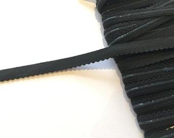 Non - Slip Black Picot Lingerie Elastic - 2 m / 12 mm - Lingerie Elastics