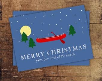 Merry Christmas Card - Holiday Cards - Seasons Greetings - Christmas Cards with Canoe - Funny Christmas Card - Christmas Tree Card - Cards