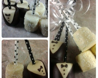 Wedding Favors, Chocolate Covered Marshmallows, Chocolate Wedding Favors, Chocolate Dipped Marshmallows, Wedding Favor Ideas, Favors