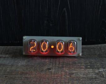 Nixie clock IN-12 RGB without case, tube clock RGB Led Backlight, soviet retro vintage clock, Steampunk clock, nixie watch