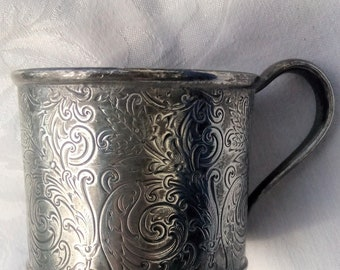 Vintage Silver Child's Cup Quadruple Silver Plate Forbes Silver Co Vintage Home Decor Collectible Silver