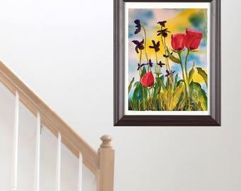 Original Watercolor Painting Artwork Poppies and Iris Office Decor Garden Poppy Flower Artwork Mother Gift Bedroom Art Anniversary Gift