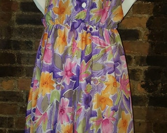 Ladies Size UK 16 18 Vintage 1980's Purple Orange Floral Preppy Swing Shirt Dress