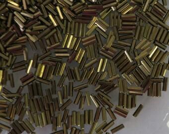 Size 3, 7 mm long, bronze metallic, glass bugle beads-8 grams-Bin #168