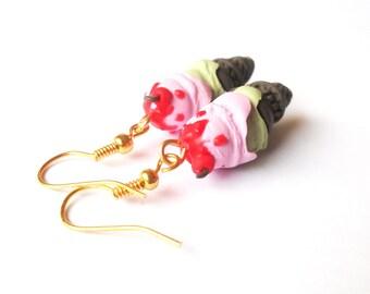 Cherry Ice Cream (food earrings ice cream earrings polymer clay jewelry ice cream cone chocolate ice cream miniature ice cream )