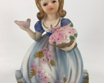 Vintage Lefton China by Marika Bisque Girl Dressed in Blue with Bird and Flowers