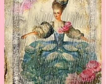 Marie Antoinette Fabric Quilt Block Pillow Panel Tote Bag Applique Cotton
