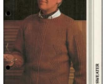 Mens Zig Zag Cable Sweater - Vintage - Retro - Multiple Sizes - Knitting Pattern Only - PDF digital Download