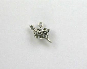 Sterling Silver 3-D Crown with Scepter Charm