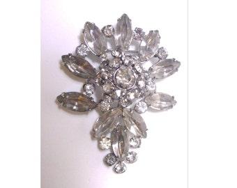 Vintage Rhinestone Teardrop Shaped Pin/Brooch - Clear Rhinestones Silver Tone