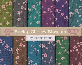 Spring digital paper, spring scrapbook paper, cherry blossom, floral, flower, rustic, burlap, digital paper, scrapbook paper, spring flowers