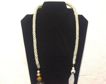 Rope and bead statement necklace