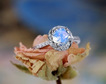 moonstone engagement ring vintage women diamond wedding round cut unique 14k white gold Half Eternity Bridal Anniversary Gift for her