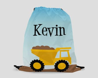 Child's Personalized Backpack - Dump Truck Drawstring Backpack - Child Size - Construction Bag Custom Made with Child's Name