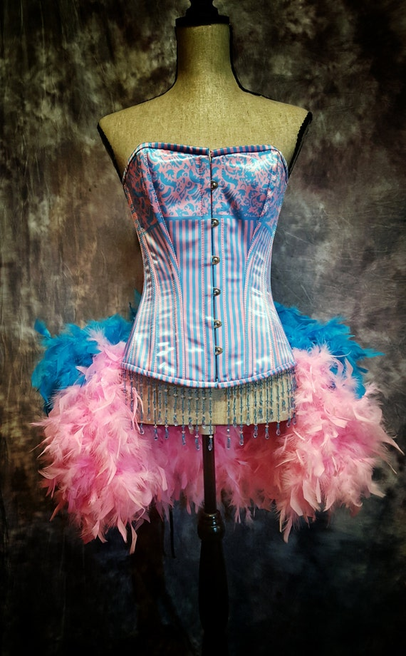 BUBBLE GUM Striped corset Circus Dress easter burlesque costume pink blue candyland