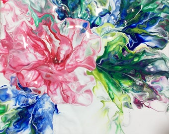 One Flower acrylic painting 8x8 gallery wrapped canvas abstract fluid art