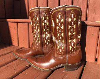 vintage acme cowboy boots, western boots, inlay leather cutout - 50s
