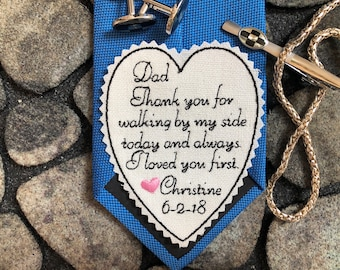 Father of the Bride tie patch Personalized, Wedding Tie Patch for Dad, Embroidered Patch, Tie Label, Dad Gift, Custom patch,heart PINK TB15A