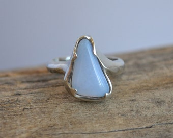 Triangle Shaped Ellensburg Blue Agate Ring in Sterling Silver, Statement Ring, Blue Stone Ring, Silver Jewelry, Triangle Ring, Large Stone