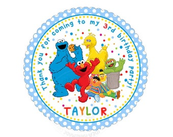 "Custom Elmo Thank you 2.5"" round Stickers-Sesame street photo quality Glossy Stickers- Personalized Baby Shower, Birthday Thank you Tags"