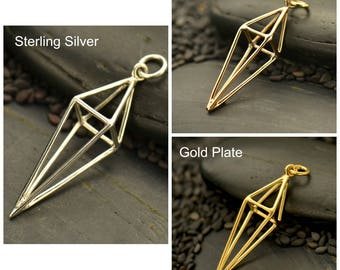 Sterling Silver, 3D Diamond Cage, Diamond Pendant, Diamond Cage, Silver Diamond Cage, Bronze Diamond Cage, Silver 3D Diamond, 3D Diamond