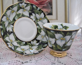 ROYAL ALBERT Bone China Teacup and Saucer - Provincial Flowers of Canada on Black Background - Trillium