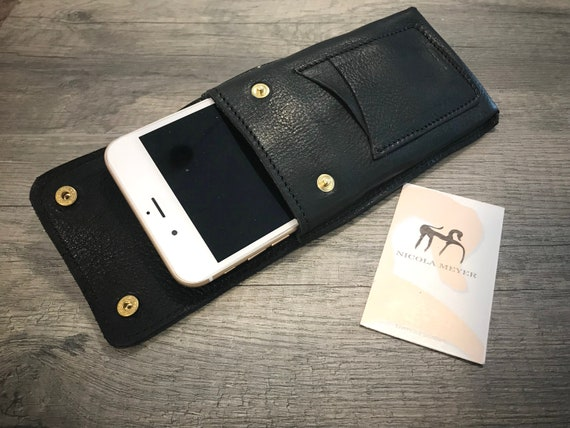 "NEW for SALE Only 1 Piece iPhone 8-7-6s-6 PLUS 5.5"" Leather Case genuine natural leather case for belt Black"